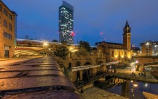 Castlefield in Manchester at night